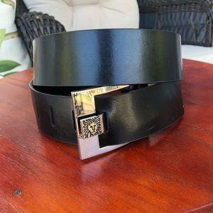 Anne Klein Genuine Leather Black/Silver Belt - M